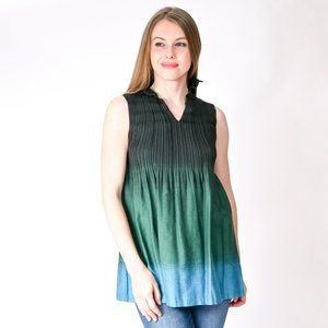 ISSEY MIYAKE Green Blue Ombre Pleated Tunic